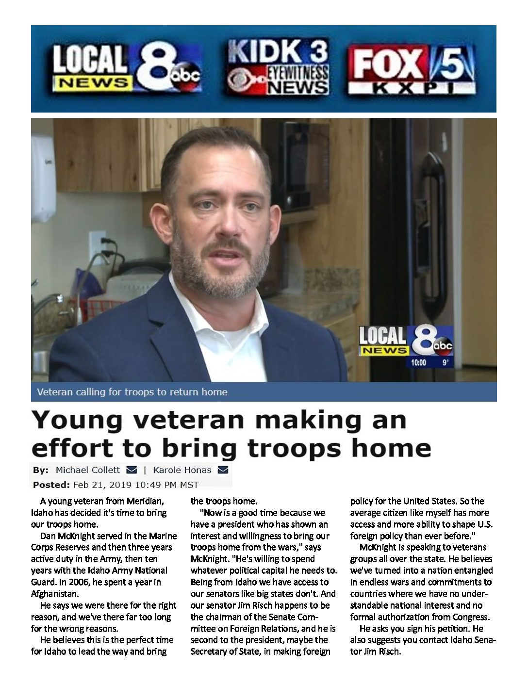 Local News 8 – Young veteran making an effort to bring troops home