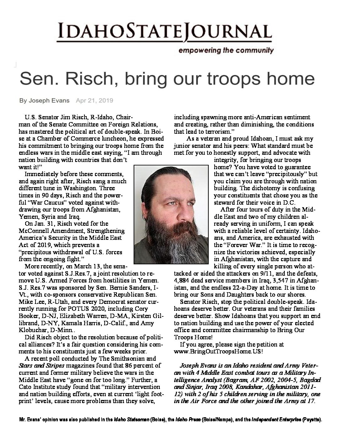 Idaho State Journal – Sen. Risch, bring our troops home
