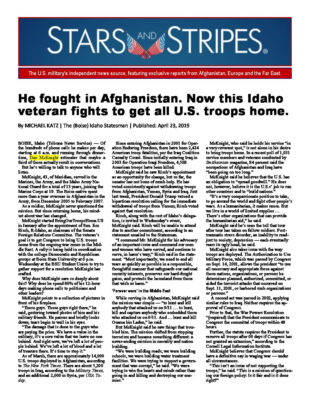 Stars and Stripes – He fought in Afganistan. Now this Idaho veteran fights to get all U.S. troops home