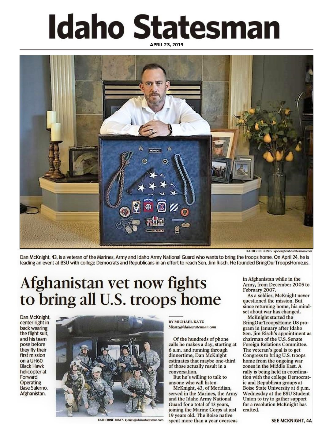 Idaho Statesman story – Afghanistan vet now fights to bring all U.S. troops home