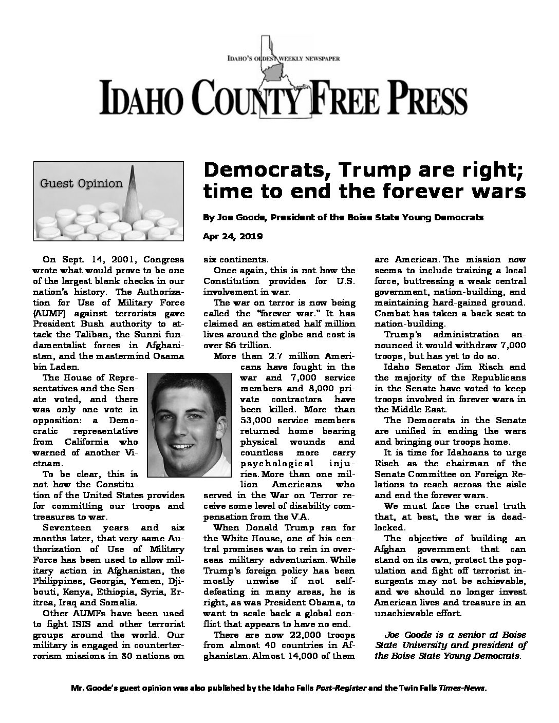 Idaho County Free Press – Democrats, Trump are right – time to end the forever wars