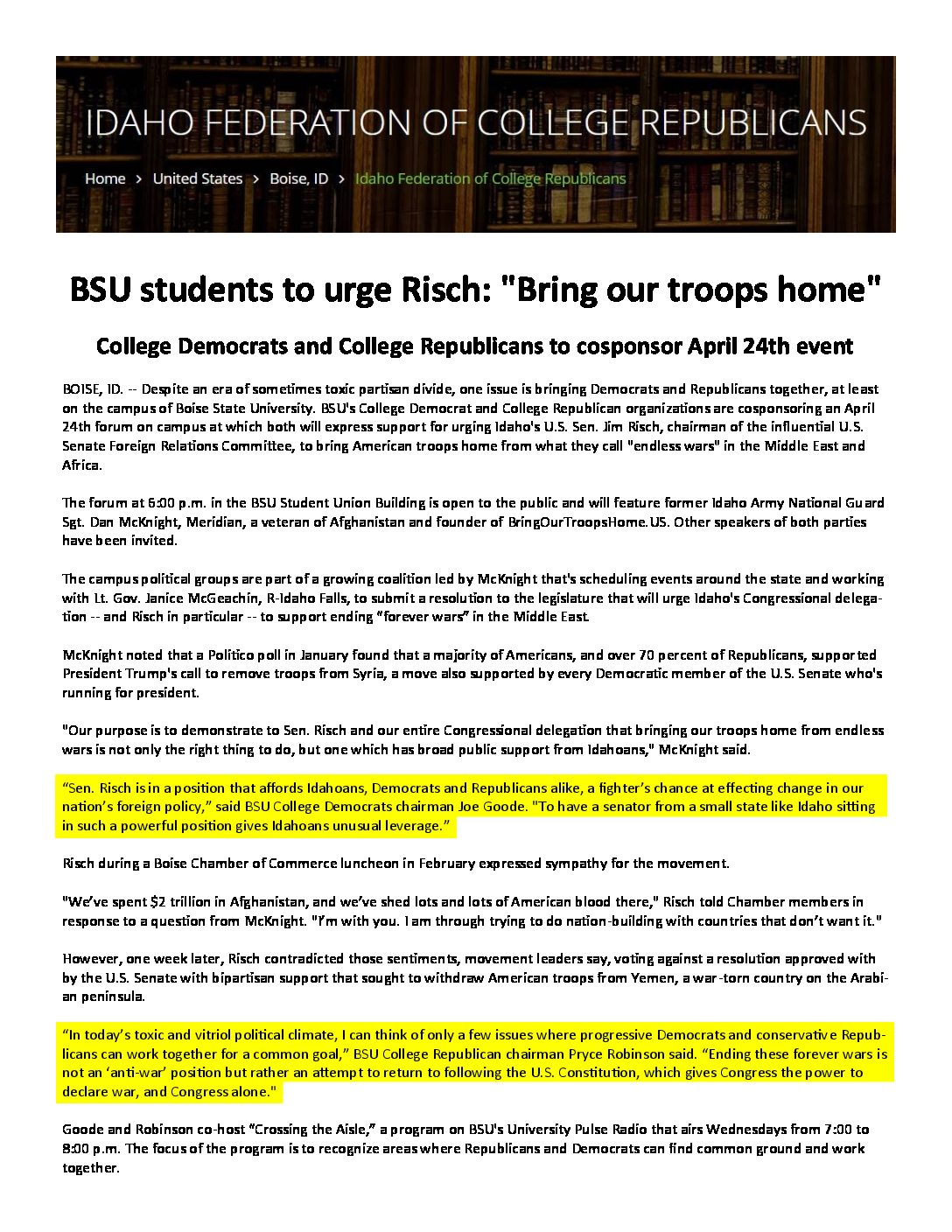 College Republicans – BSU students to urge Risch _Bring our troops home_