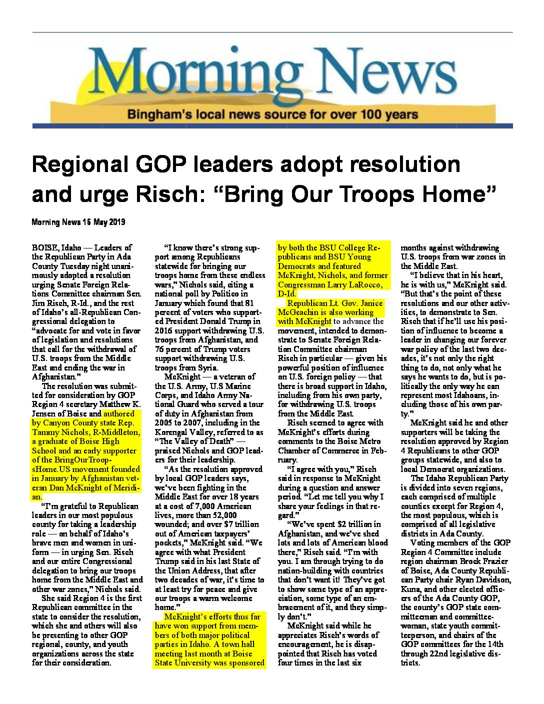 Blackfoot Morning News – Regional GOP leaders adopt resolution and urge Risch _Bring Our Troops Home_