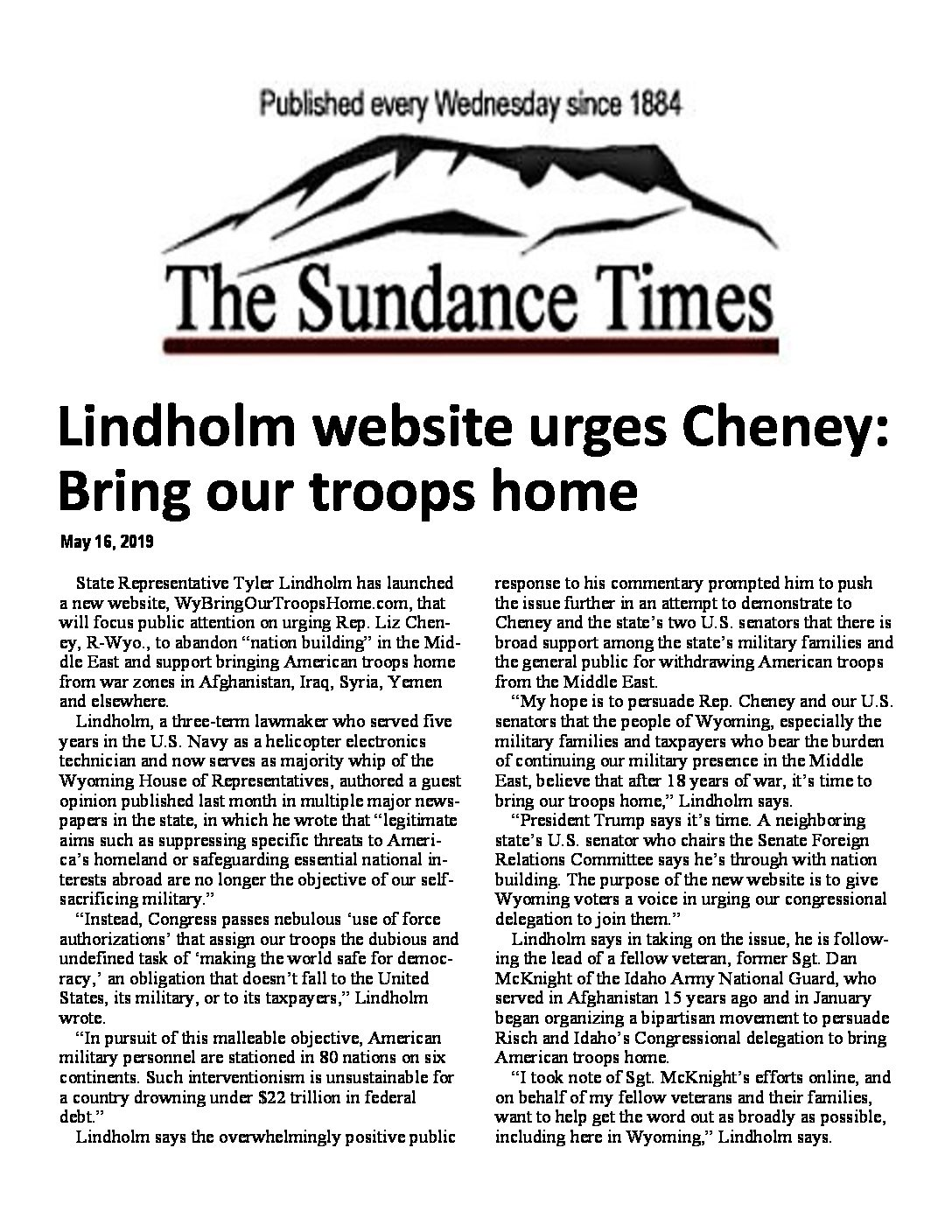 The Sundance Times – Lindholm website urges Cheney – Bring Our Troops Home