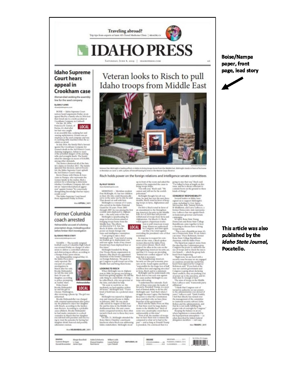 Idaho Press front page – Veteran looks to Risch to pull Idaho troops from Middle East