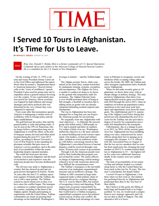 TIME – I Served 10 Tours in Afghanistan. It's Time for Us to Leave.