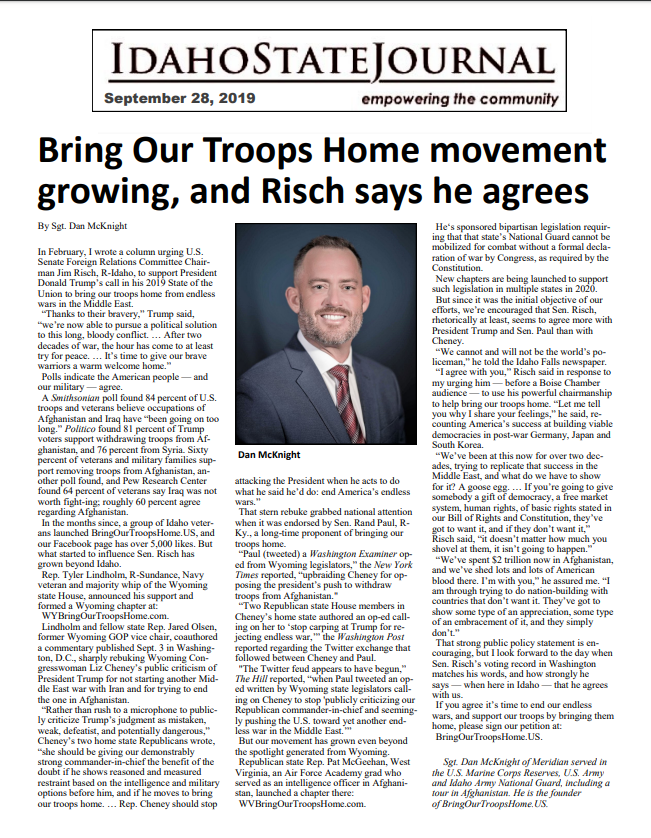 Bring Our Troops Home movement growing, and Risch says he agrees