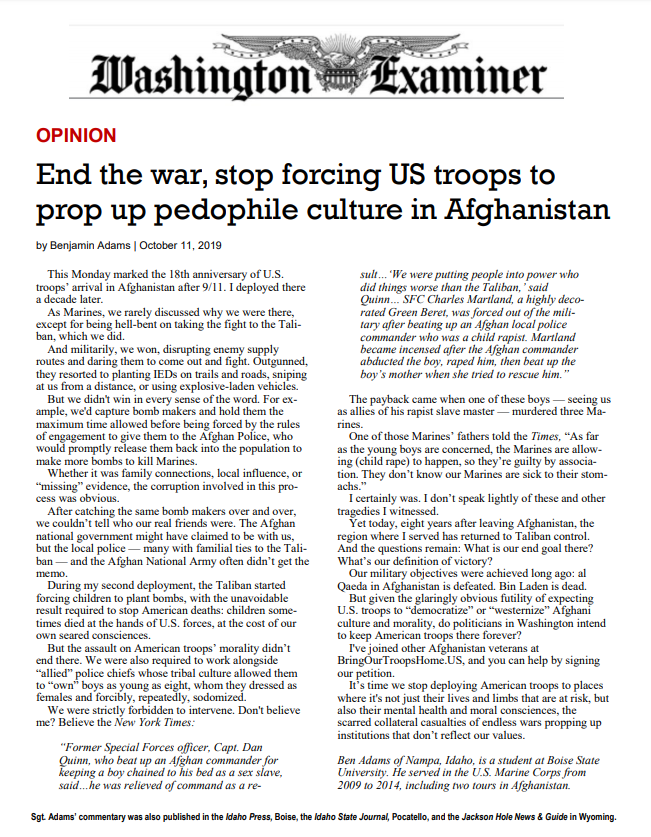 End the war, stop forcing US troops to prop up pedophile culture in Afghanistan