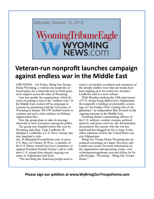 Veteran-run nonprofit launches campaign against endless war in the Middle East