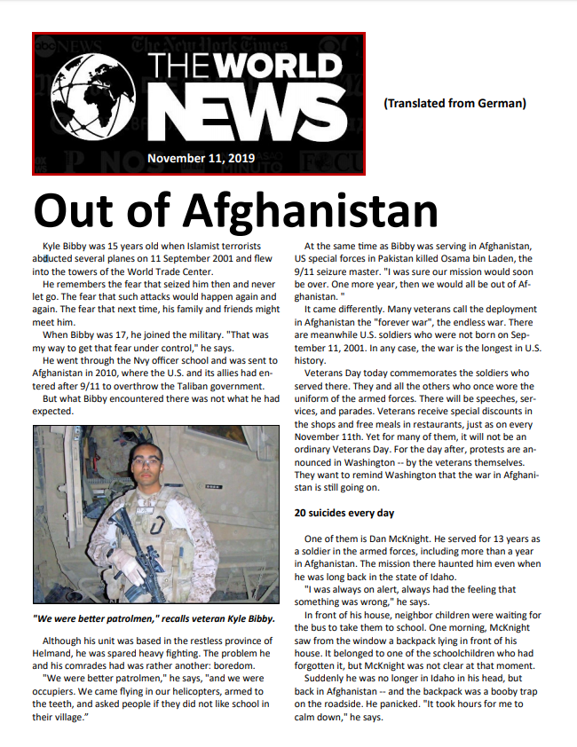 The World News - Out of Afghanistan