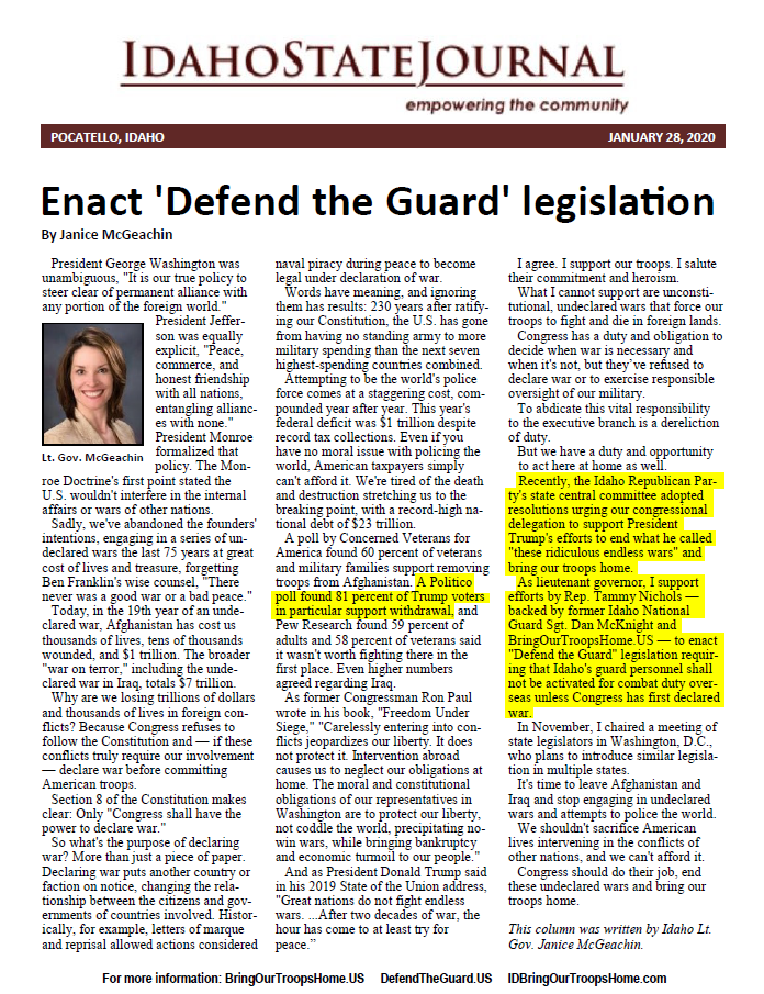 Idaho State Journal - Enact 'Defend the Guard' legislation