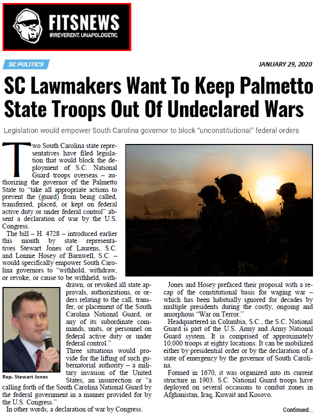 SC Lawmakers Want To Keep Palmetto State Troops Out Of Undeclared Wars