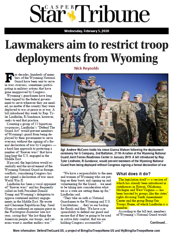 Lawmakers aim to restrict troop deployments from Wyoming