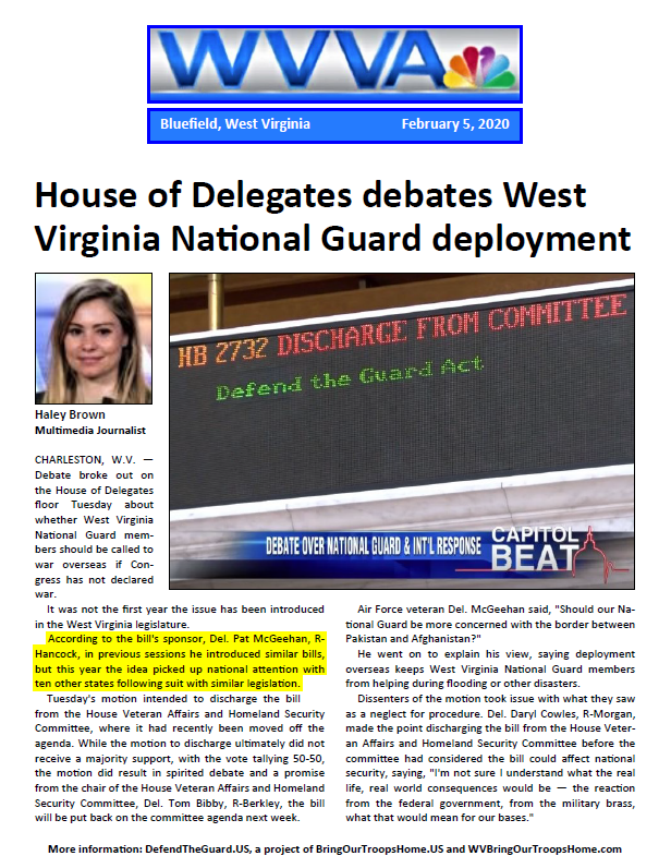 House of Delegates debates West Virginia National Guard deployment