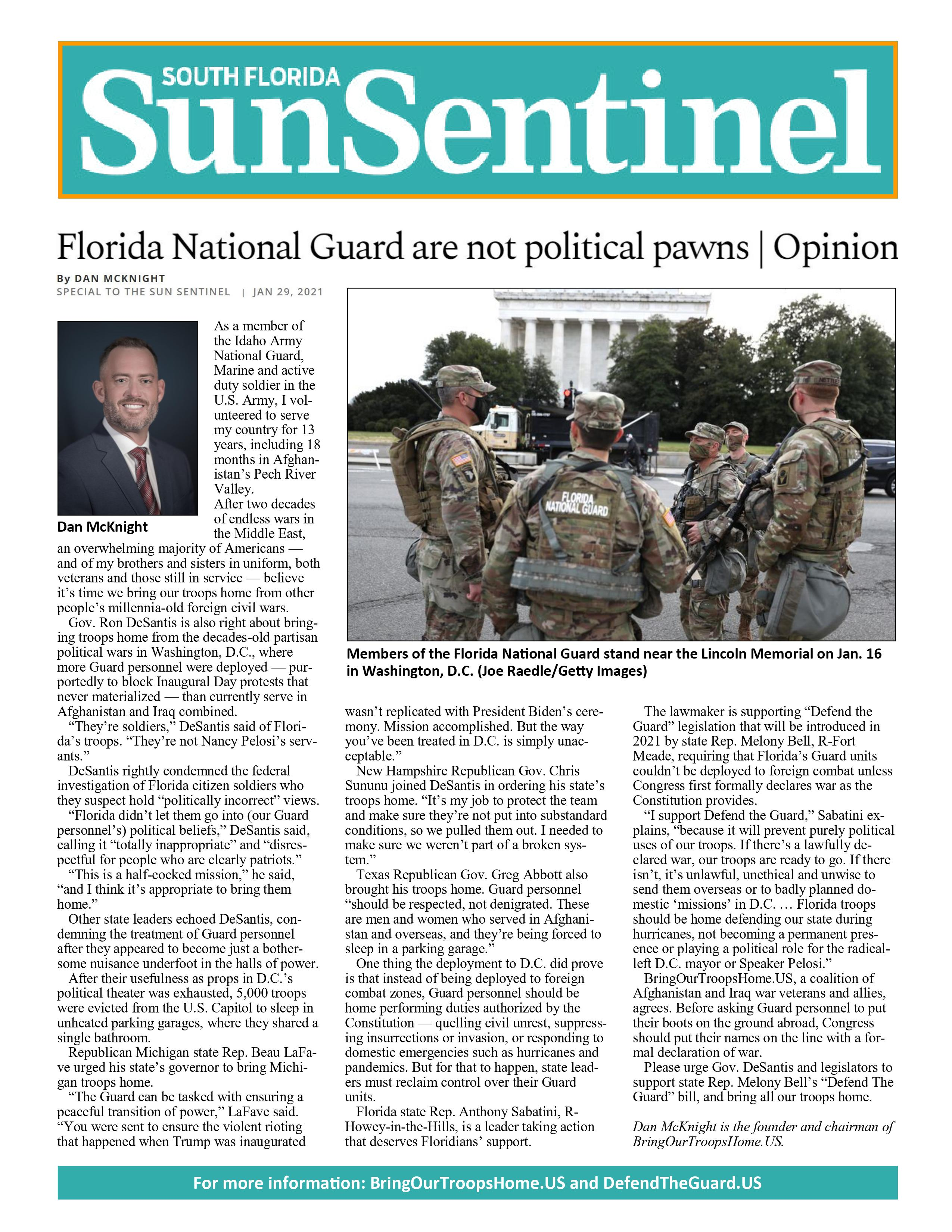 Florida National Guard Are Not Political Pawns