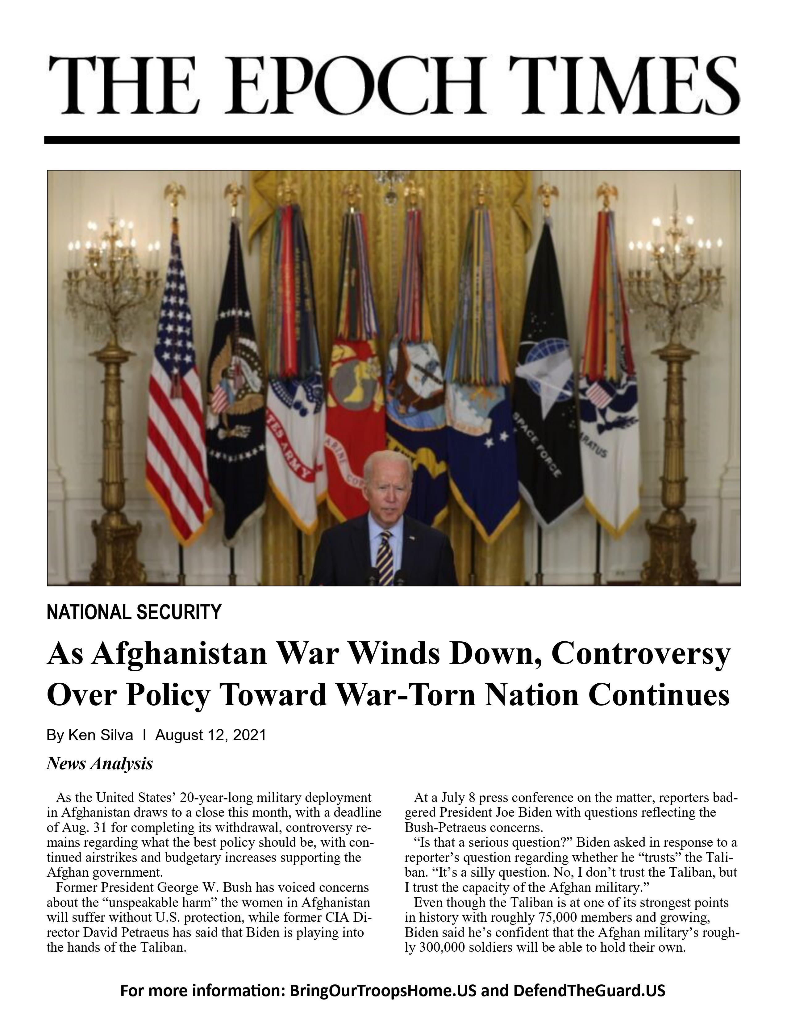 As Afghanistan War Winds Down, Controversy Over Policy Toward War-Torn Nation Continues