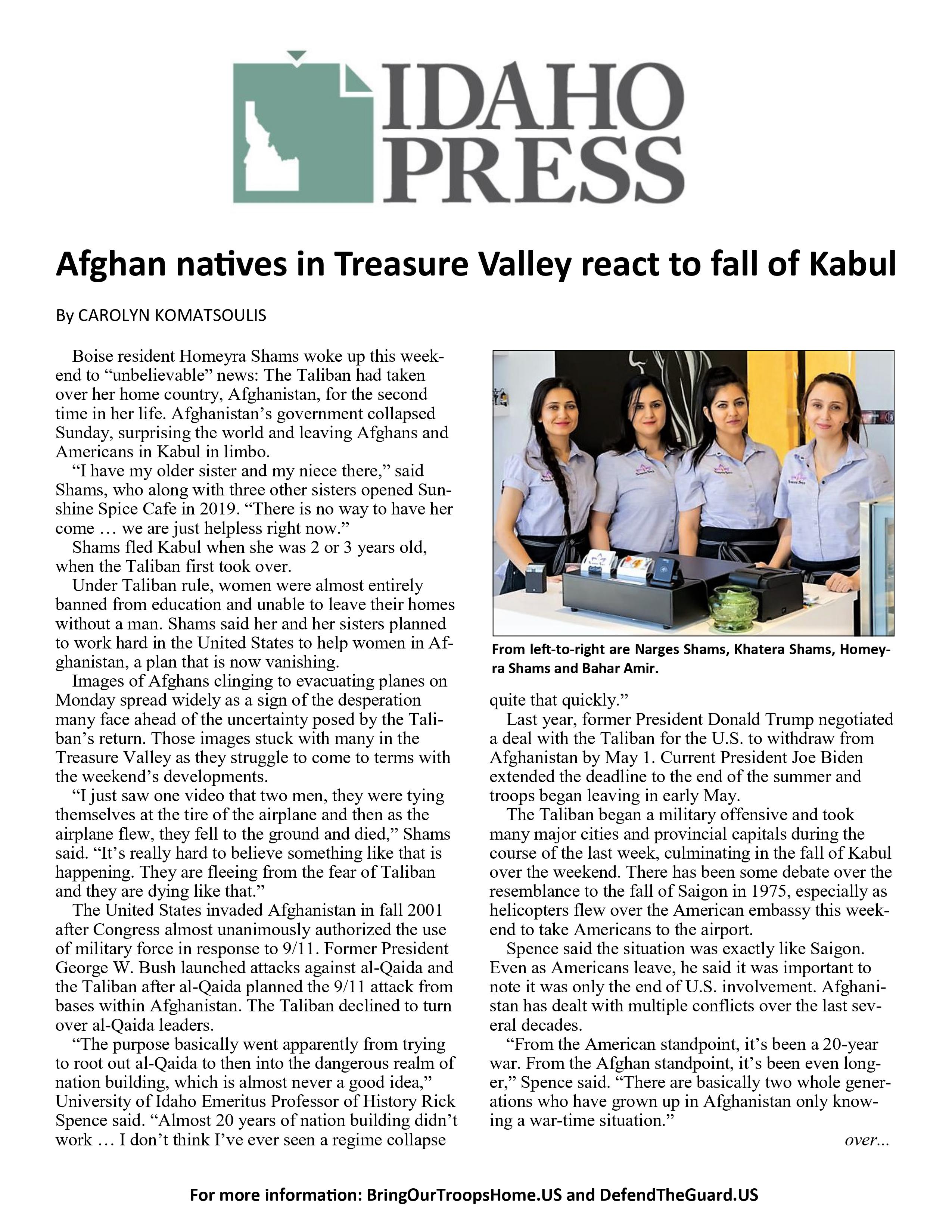 Afghan Natives in Treasure Valley React to Fall of Kabul