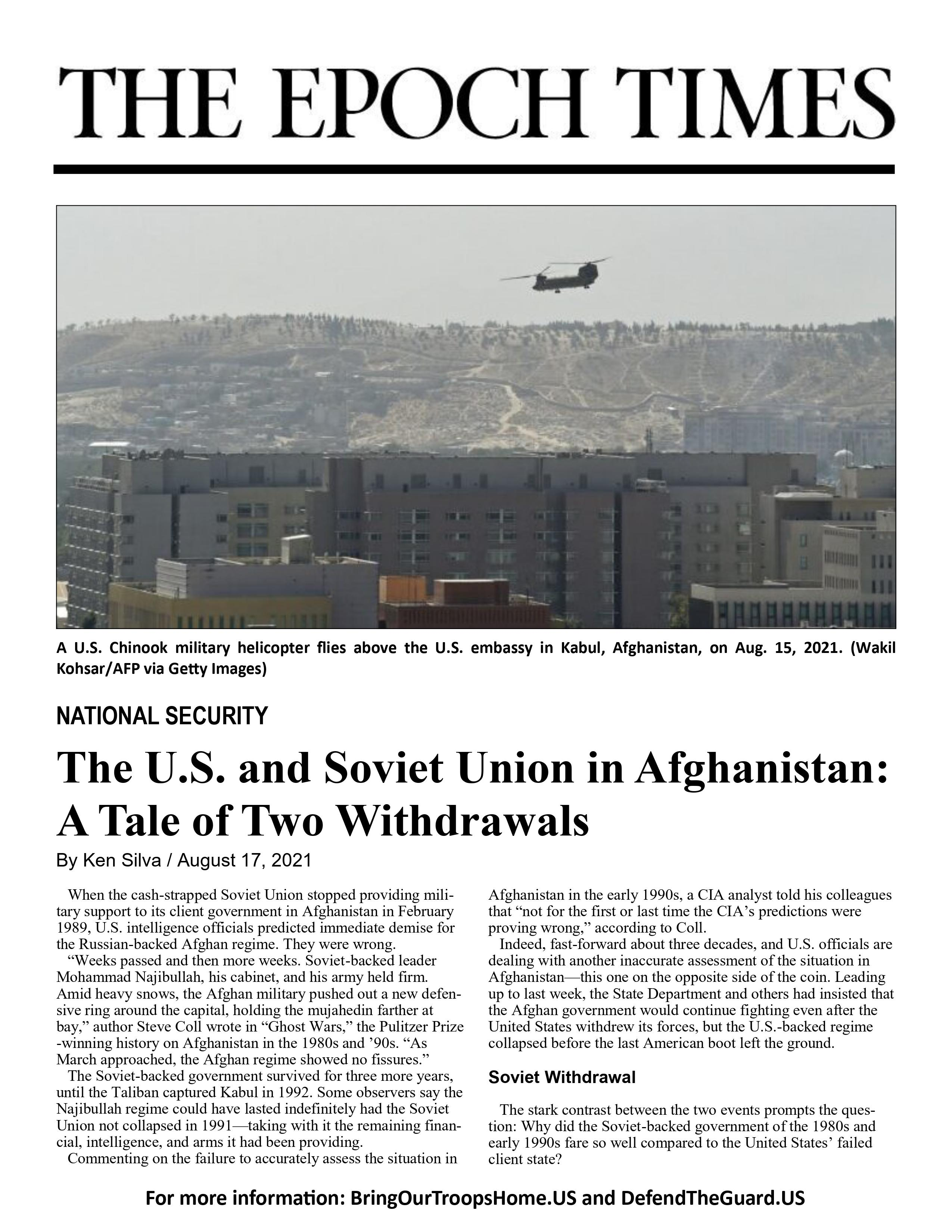 The U.S. and Soviet Union in Afghanistan: A Tale of Two Withdrawals