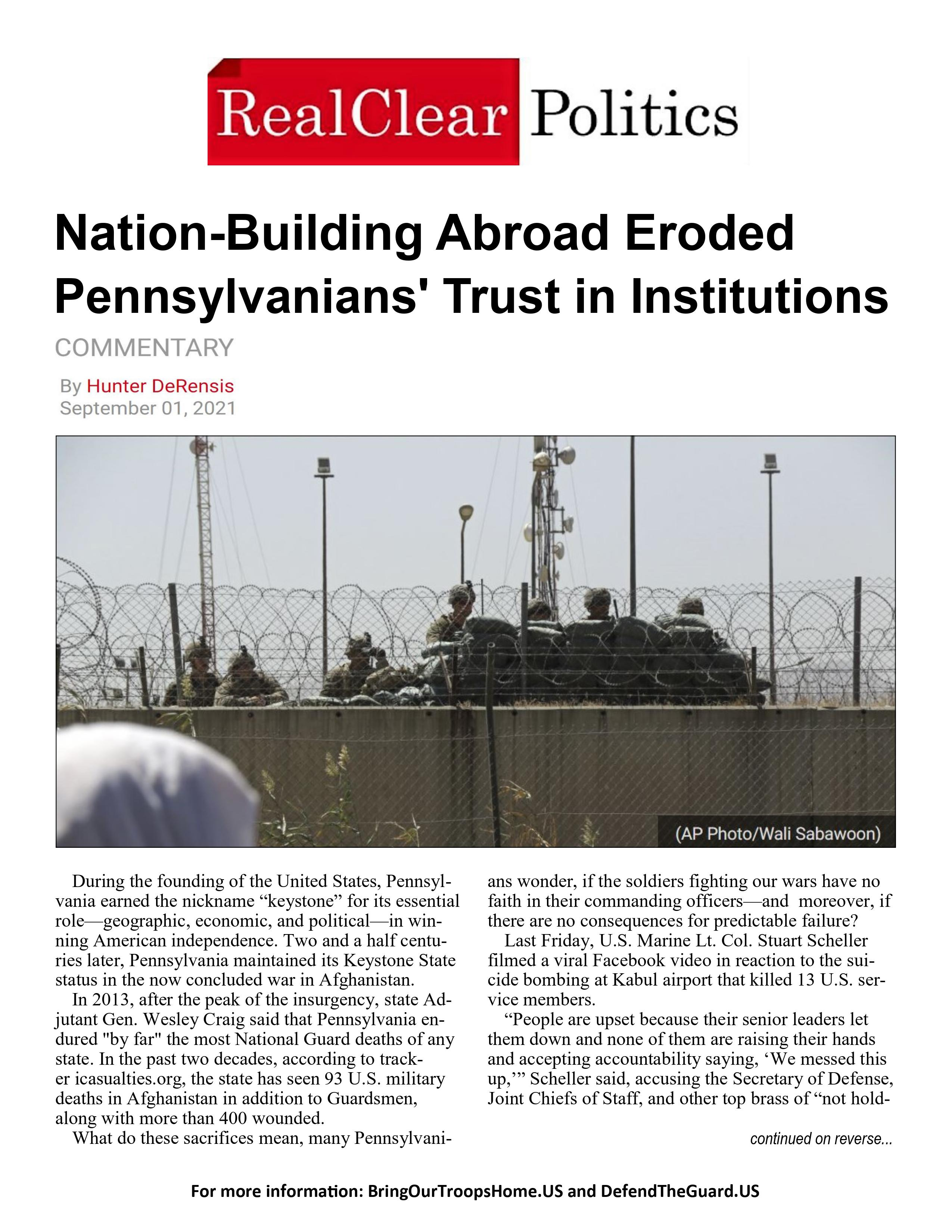 Nation-Building Abroad Eroded Pennsylvanians' Trust in Institutions