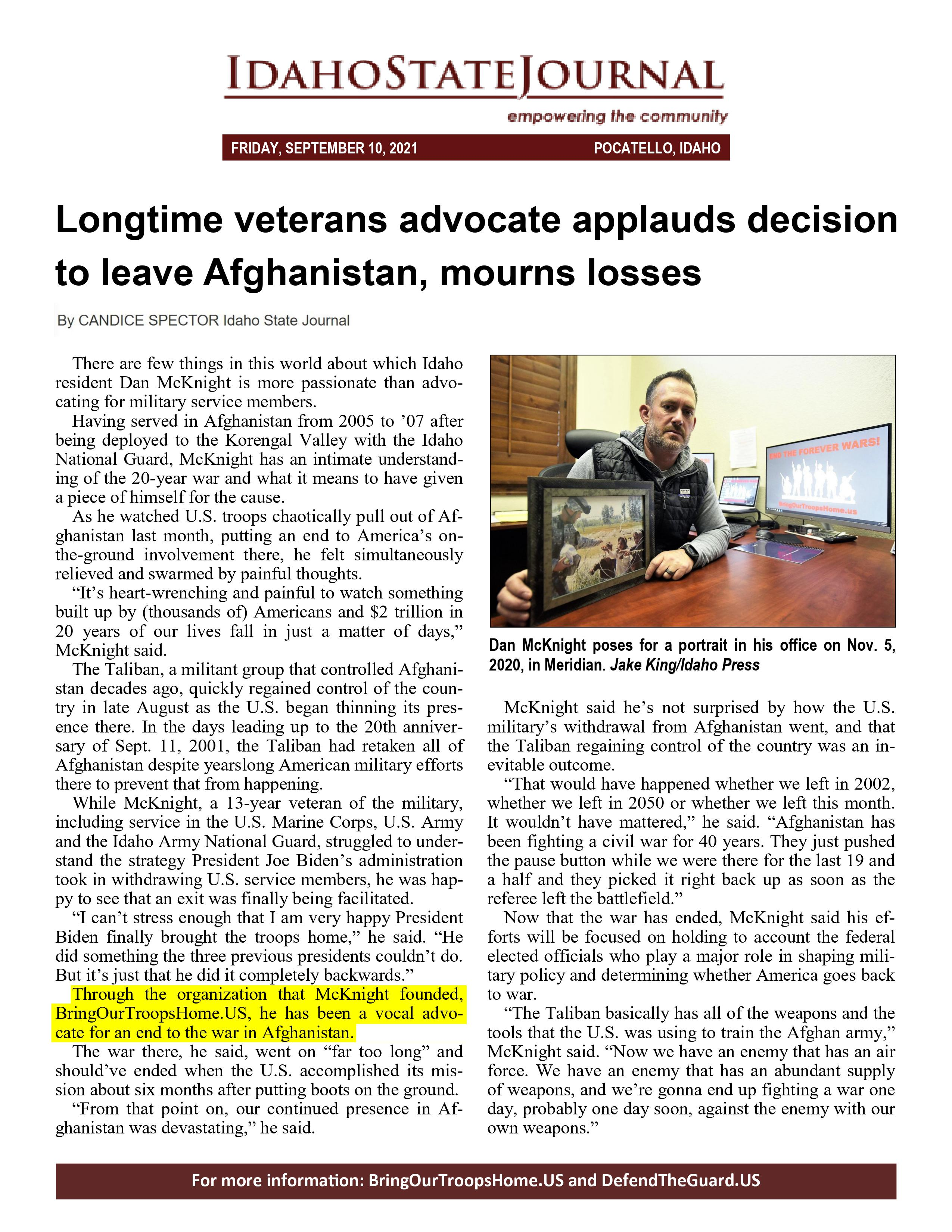 Longtime Veterans Advocate Applauds Decision to Leave Afghanistan, Mourns Losses