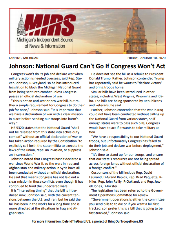 MIRS - Johnson: National Guard Can't Go If Congress Won't Act