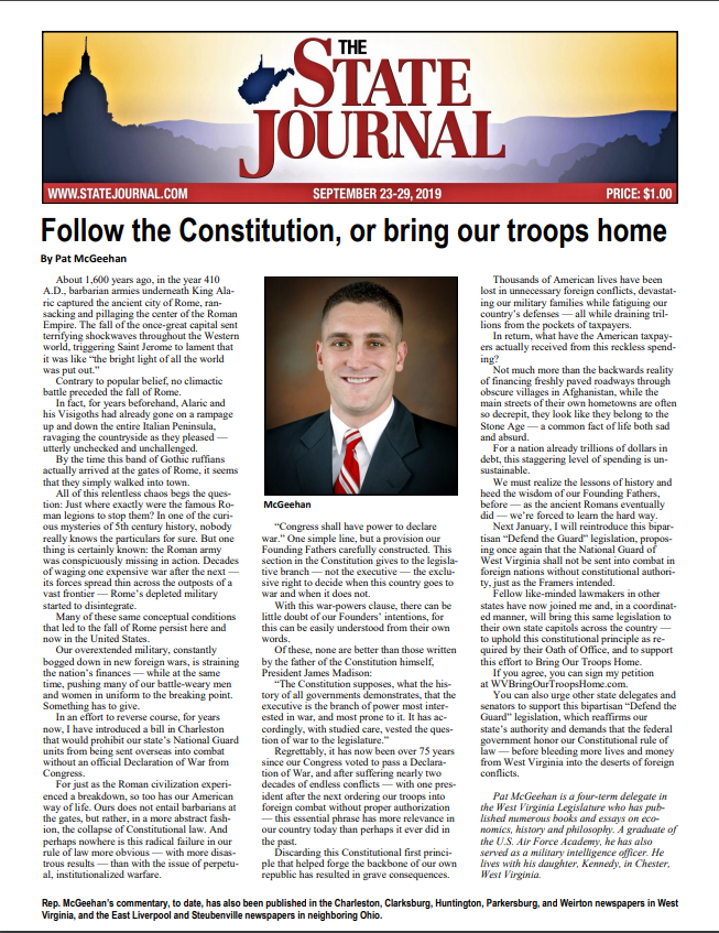 The State Journal – Follow the Constitution, or bring our troops home