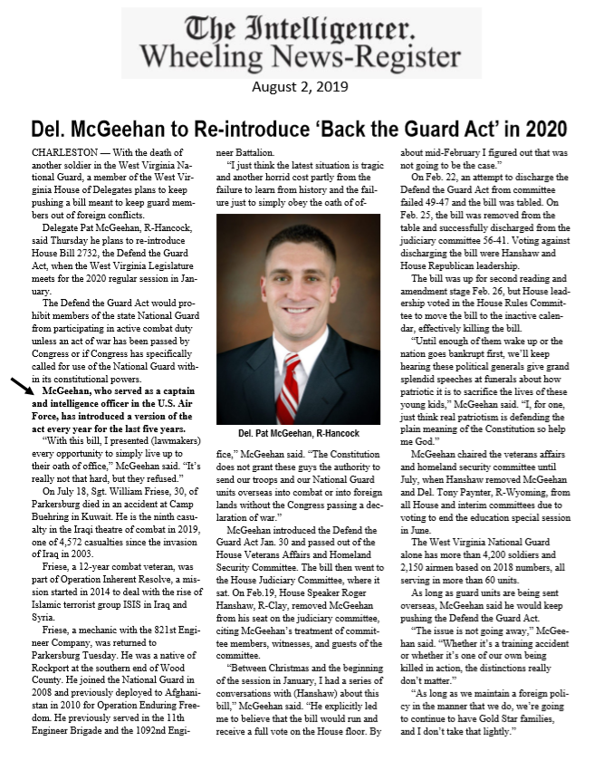 Del. McGeehan to Re-introduce 'Back the Guard Act' in 2020