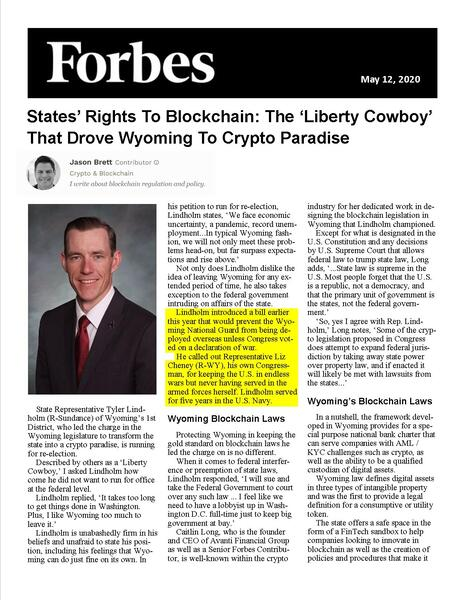States' Rights To Blockchain: The 'Liberty Cowboy' That Drove Wyoming To Crypto Paradise