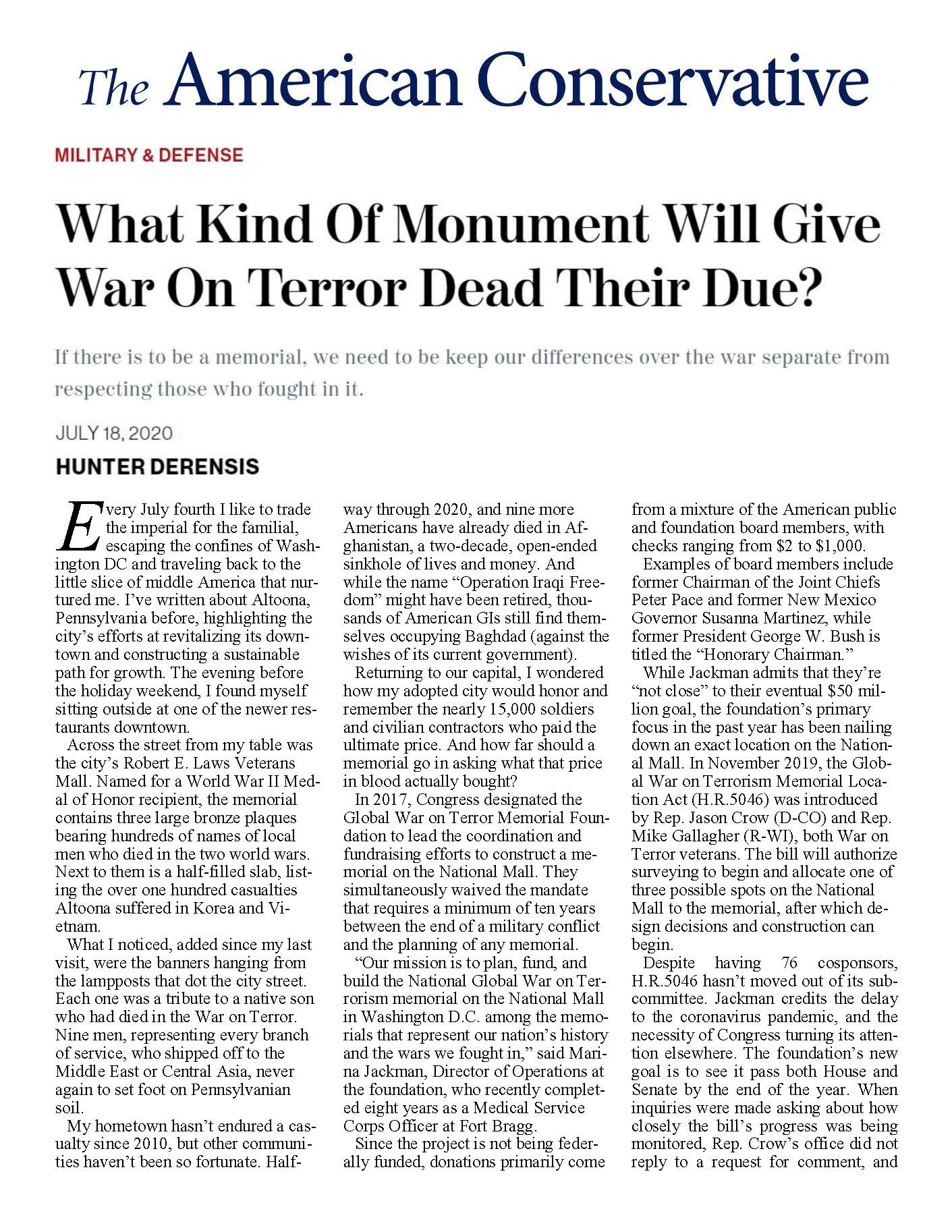 What Kind Of Monument Will Give War On Terror Dead Their Due?