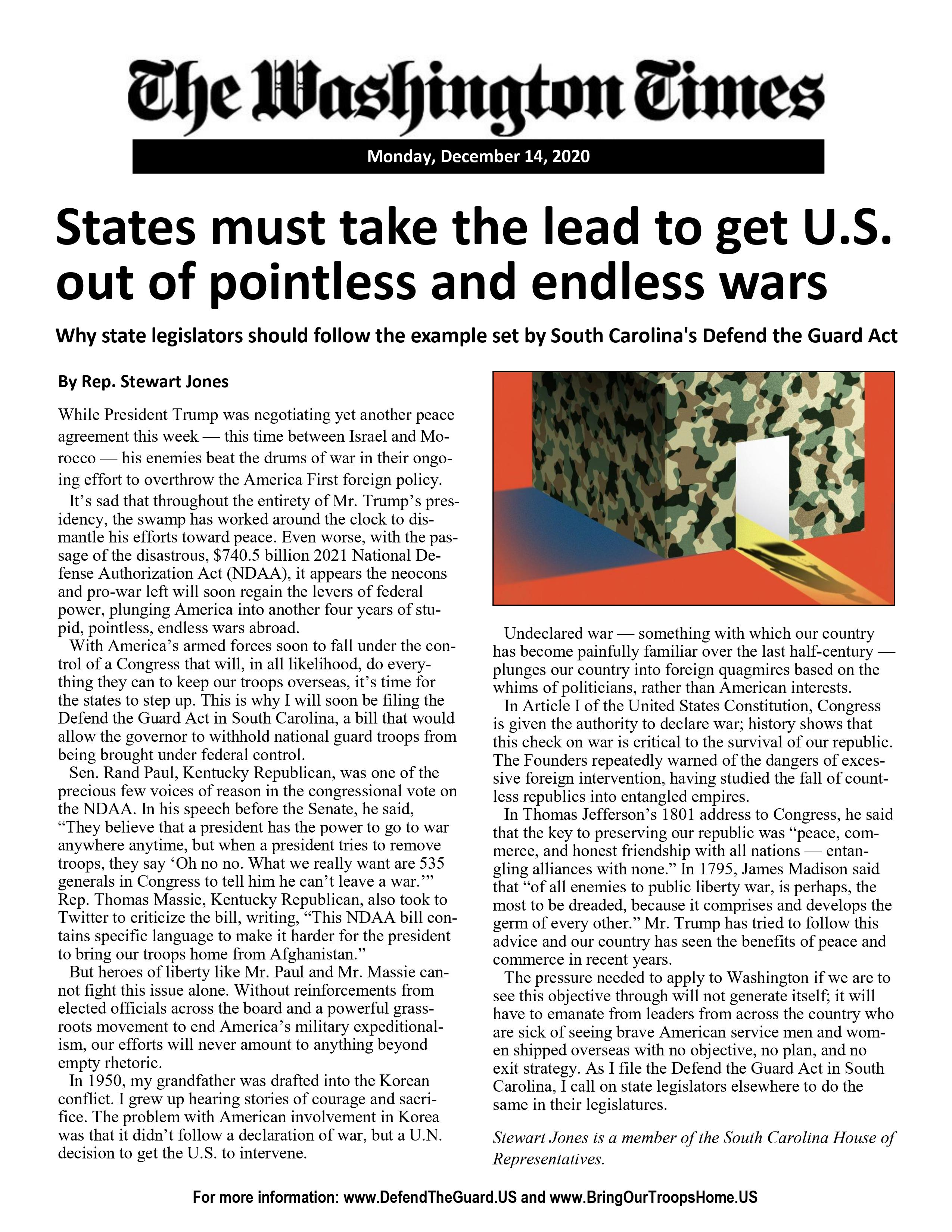 States Must Take the Lead to Get U.S. Out of Pointless and Endless War