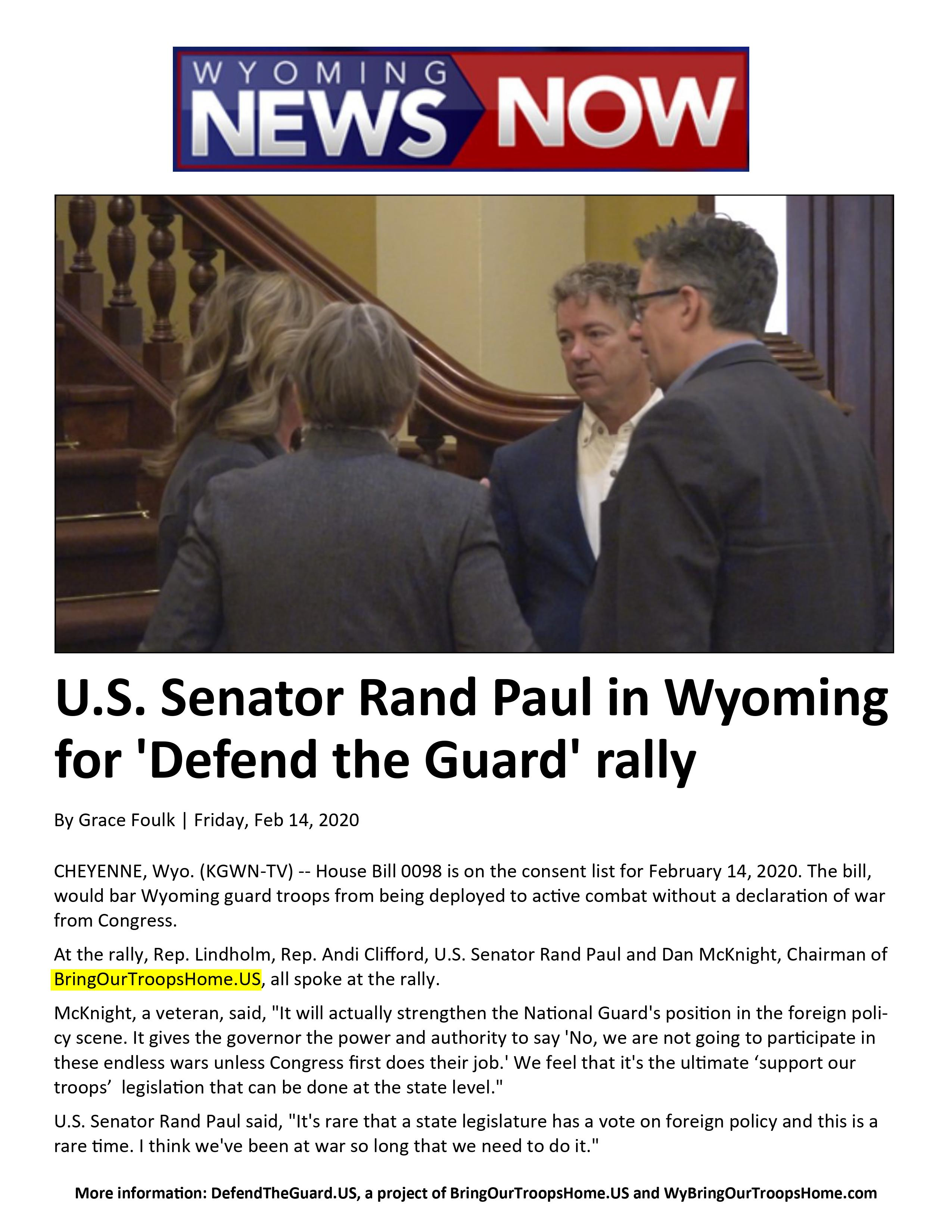 U.S. Senator Rand Paul in Wyoming for 'Defend the Guard' Rally