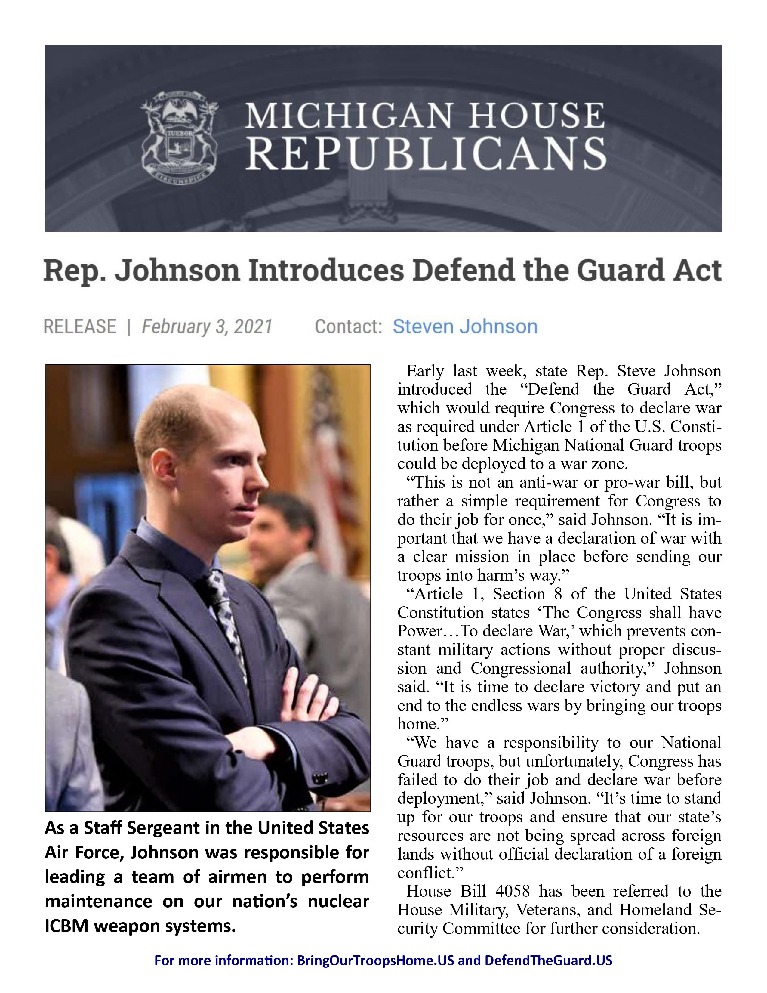 Rep. Johnson Introduces Defend the Guard Act