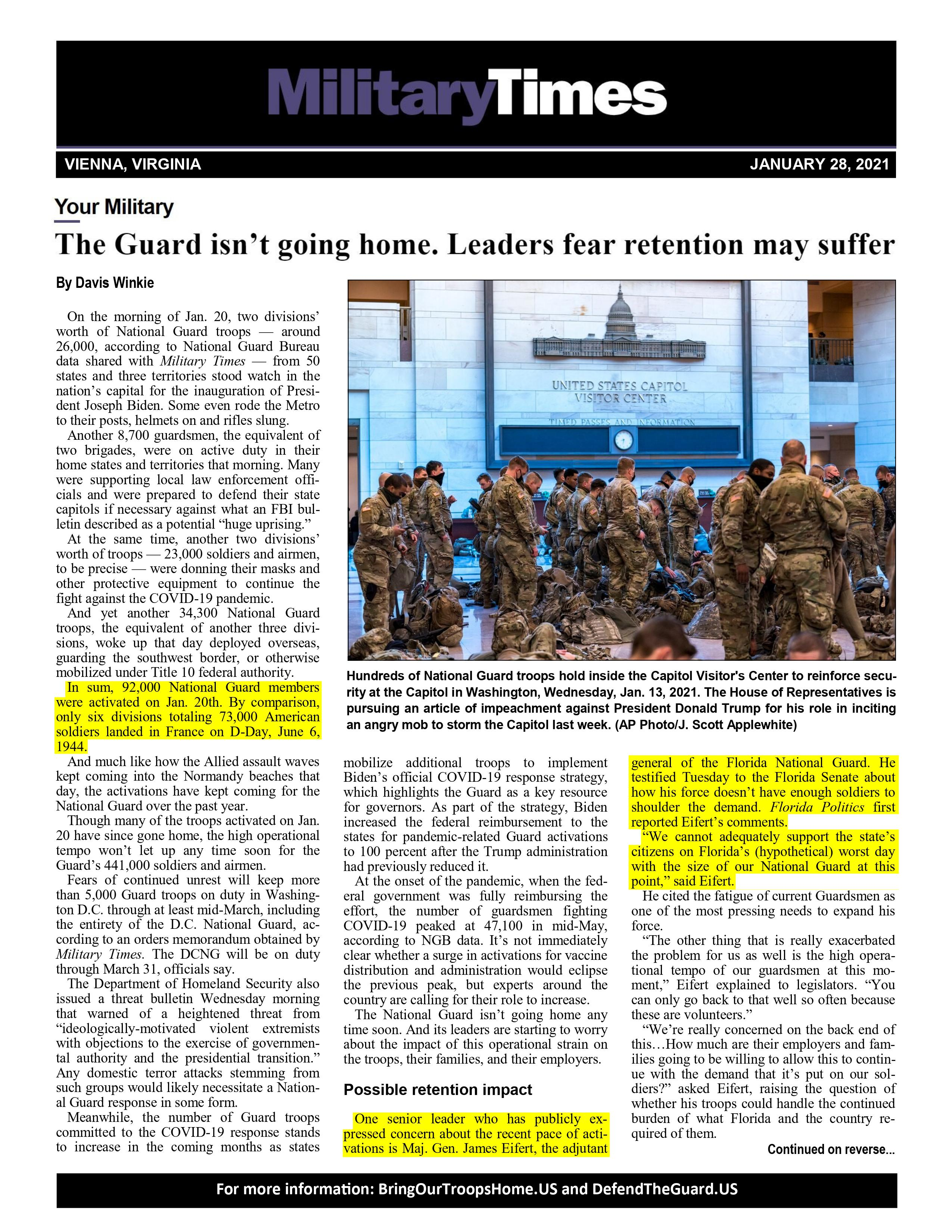 The Guard Isn't Going Home; Leaders Fear Retention May Suffer