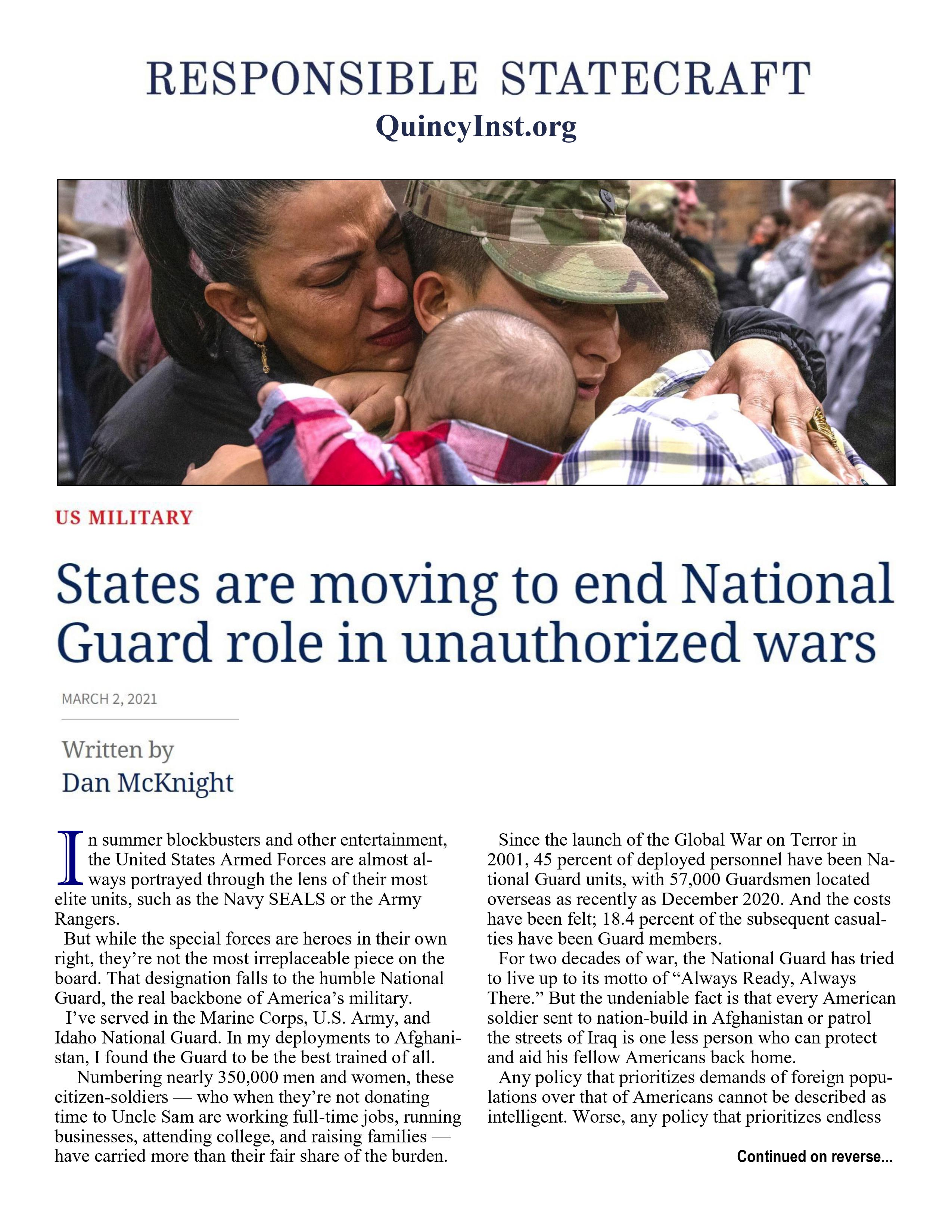States Are Moving to End National Guard Role in Unauthorized Wars