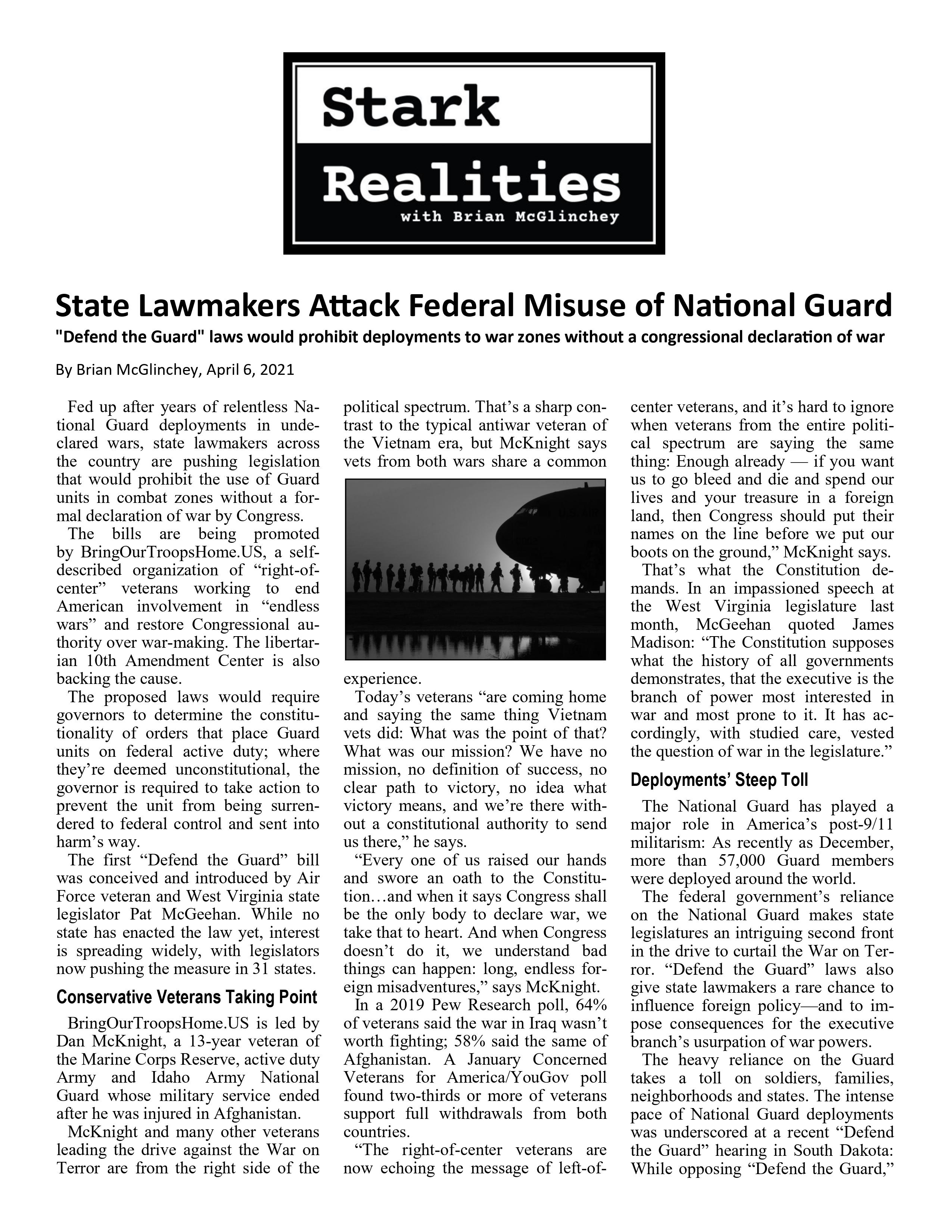 State Lawmakers Attack Federal Misuse of National Guard