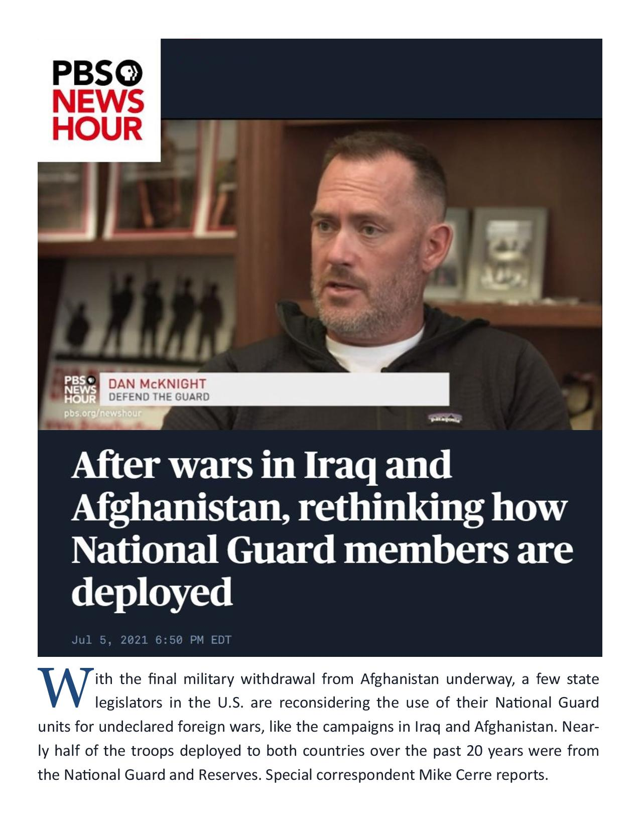 After Wars in Iraq and Afghanistan, Rethinking How National Guard Members Are Deployed