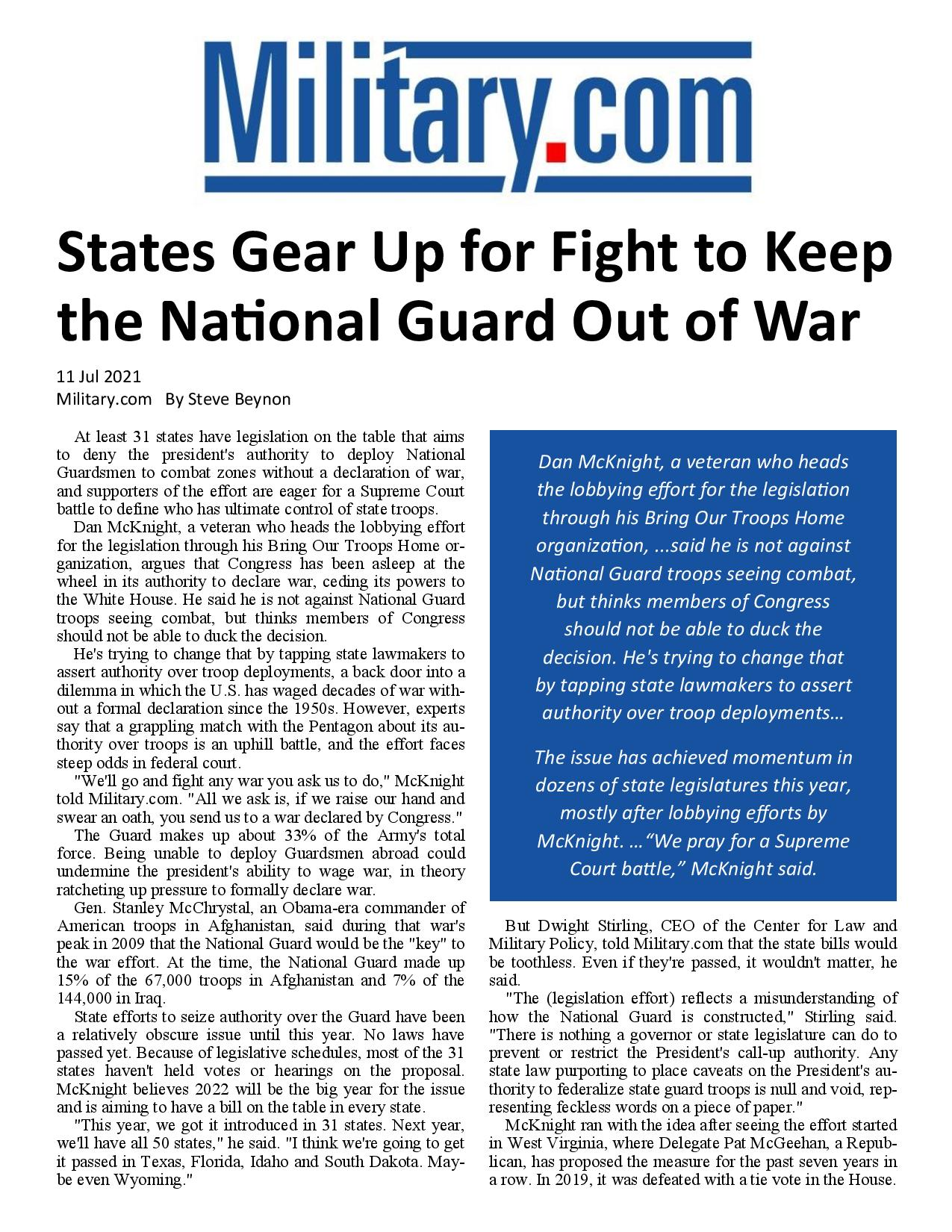 States Gear Up for Fight to Keep the National Guard Out of War