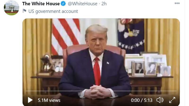 President Trump Message from the White House 1/13/21