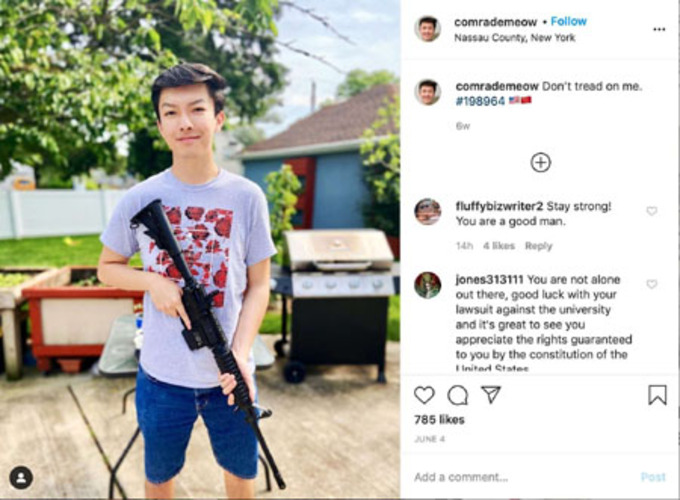 Banned from for gun photo, Fordham student fights back