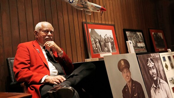 Sons of Tuskegee Airmen share history lessons with students