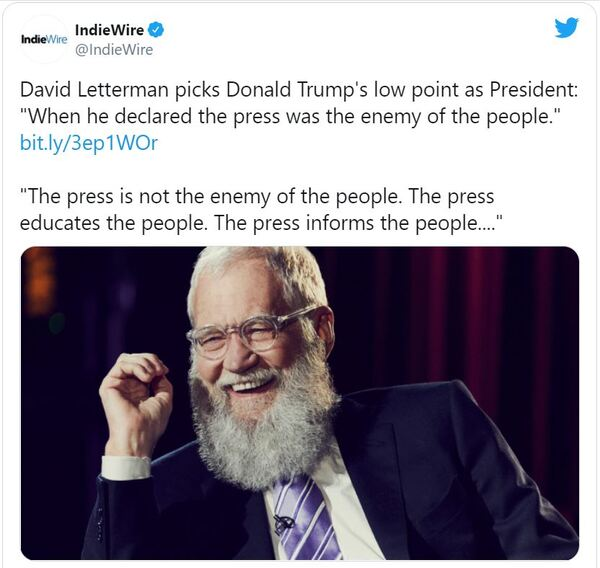 'Funnyman' David Letterman Tells His Best Joke in Years: The Press 'Educates and Informs' America; LOL