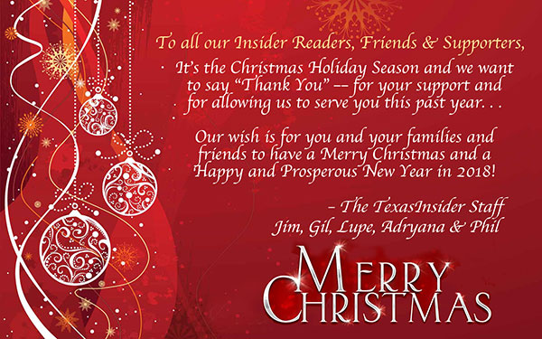 Merriest of Christmases & Happiest of New Years from Texas Insider!